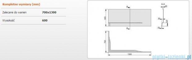 Sanplast Obudowa do wanny Free Line prawa, OWPLP/FREE 70x130 cm 620-040-0030-01-000