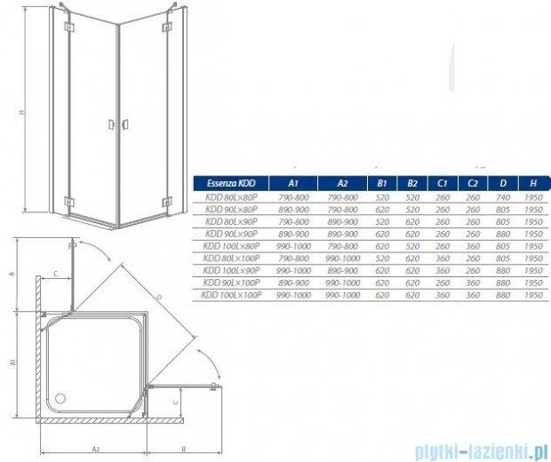 Radaway Kabina prysznicowa Essenza KDD 90x80 szkło przejrzyste 32875-01-01NL