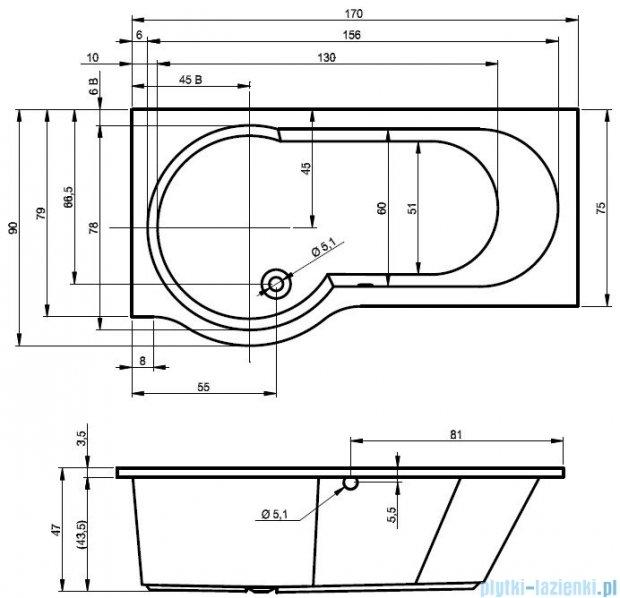 Riho Dorado Wanna asymetryczna 170x75 prawa z hydromasażem HIT Hydro 4+4+2/Aero12 BA80H3
