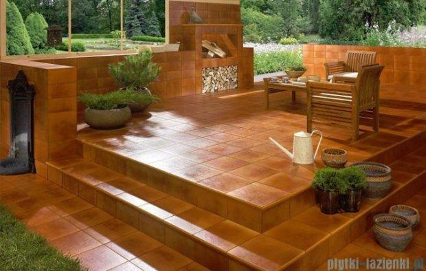 Paradyż Aquarius brown klinkier cokół schodowy prawy 30x30