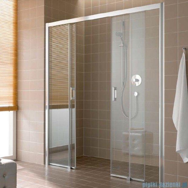Kermi Atea Drzwi przesuwne bez progu, 4-częściowe, szkło przezroczyste z KermiClean, profile srebrne 150x185 ATD4B15018VPK