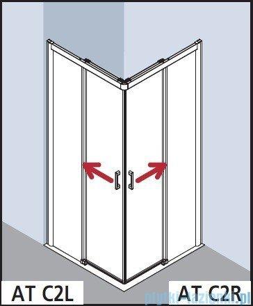 Kermi Atea Wejście narożne lewe, połowa kabiny, szkło przezroczyste KermiClean, profile białe 90x185cm ATC2L090182PK
