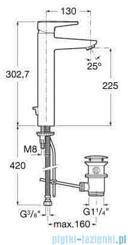 Roca Esmai Bateria sztorcowa umywalkowa wysoka A5A3431C00