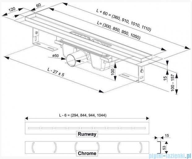 Ravak Odpływ liniowy Chrome 950 nierdzewny X01428