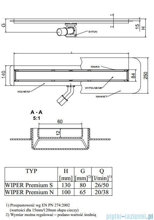 Wiper Odpływ liniowy Premium Pure 100cm z kołnierzem szlif PU1000SPS100