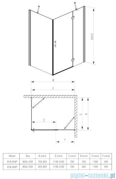 Deante Abelia kabina prostokątna 120x80 cm przejrzyste KTA 044P