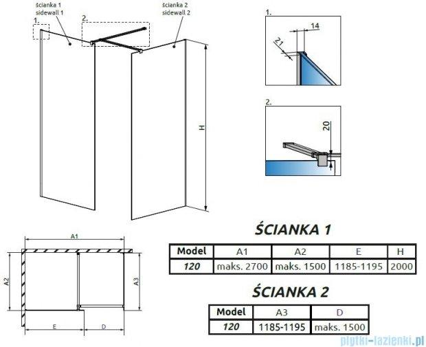 Radaway Modo New III kabina Walk-in 120x120x200 szkło przejrzyste 389124-01-01/389124-01-01/389000-01