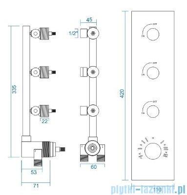 Corsan bateria podtynkowa z termostatem trójdrożna chrom CMT03