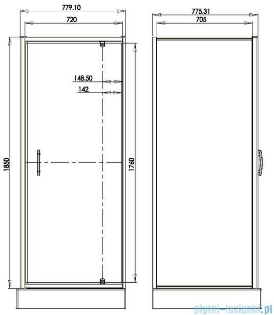Omnires S kabina kwadratowa 80x80x185cm szkło brązowe S-80KBR