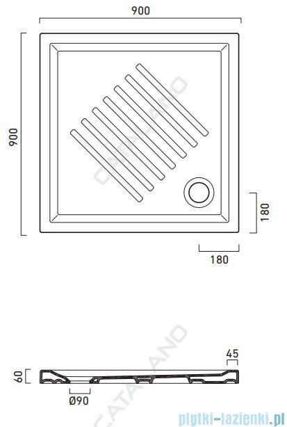 Catalano Verso 90x90 brodzik ceramiczny 90x90x6 cm biały 19090H600