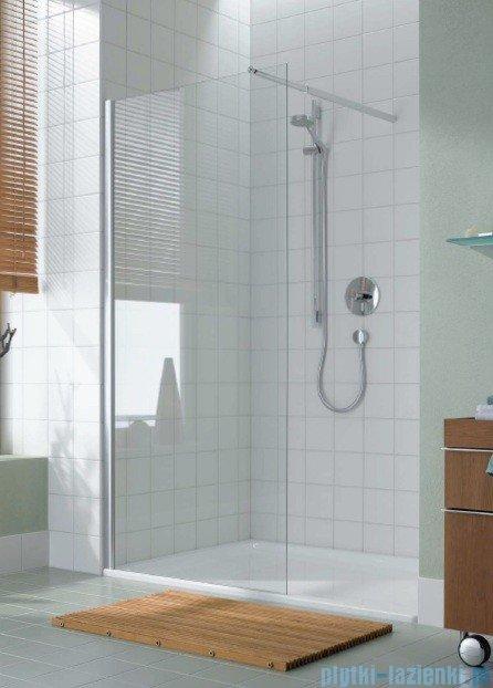 Kermi Atea Ściana boczna wolno stojąca, szkło przezroczyste, profile białe 80cm ATTWF080182AK