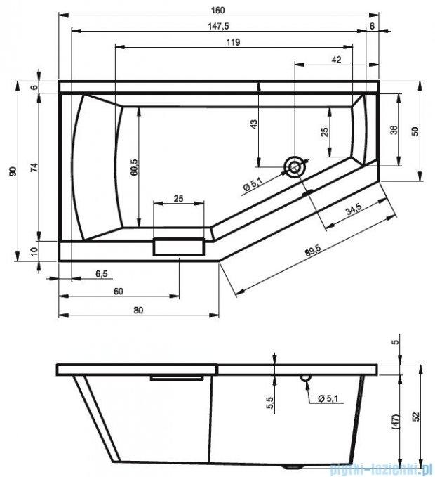 Riho Geta Wanna asymetryczna 160x90 prawa z hydromasażem LUX Hydro 4+4+2/Aero11 BA86L8