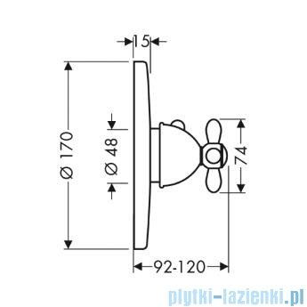 Hansgrohe Axor Carlton Bateria termostatowa podtynkowa High Flow z uchwytem krzyżowym 17716000