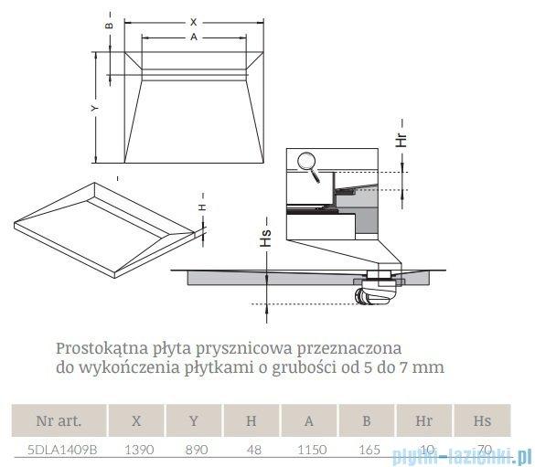 Radaway prostokątny brodzik podpłytkowy z odpływem liniowym Basic na dłuższym boku 139x89cm 5DLA1409B,5R115B,5SL1