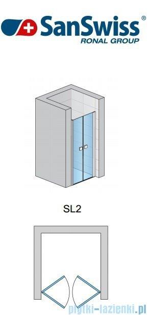 SanSwiss Swing Line SL2 Drzwi dwuczęściowe 90-125cm profil biały SL2SM20407