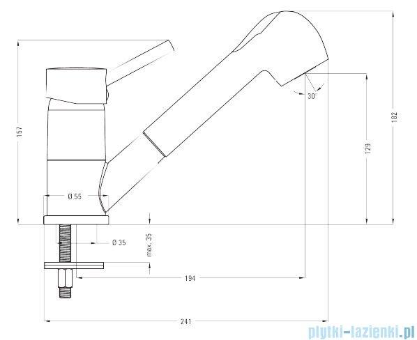 Deante Pero bateria zlewozmywakowa stojąca z wyciąganą wylewką chrom BOP 071M