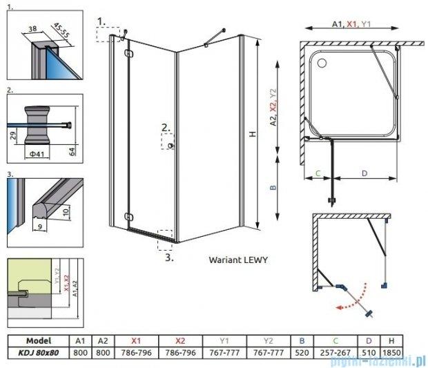 Radaway Torrenta Kdj kabina kwadratowa 80x80 lewa szkło carre + Brodzik Delos C + syfon 32212-01-10NL