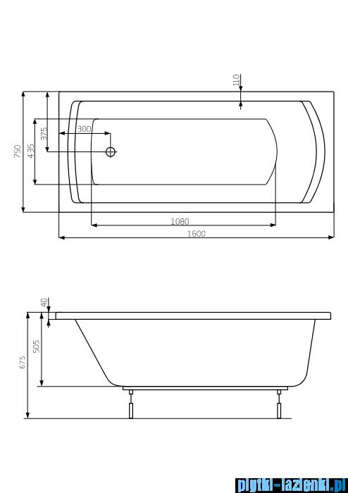 Roca Linea XL wanna 160x75cm z hydromasażem Effects Gold Opcja A24T032000