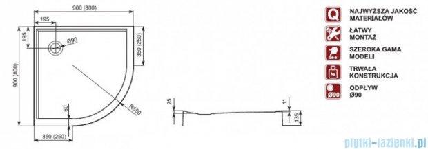 Aquaform Plus 550 brodzik półokrągły płytki ze zintegrowaną obudową 90x90cm 06918