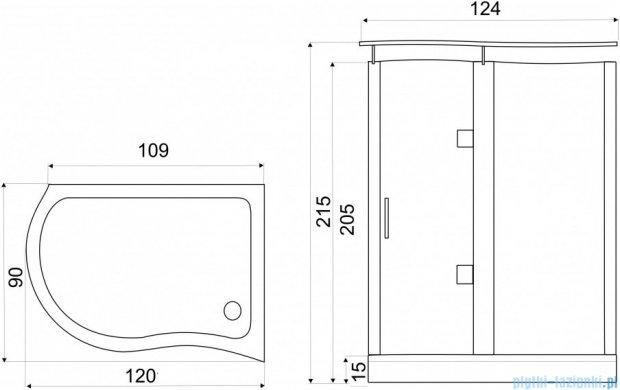 NOVOTERM kabina prysznicowa prawa szkło: brązowe 120x90 NERO Prawa B