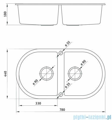 Deante Piva Zlewozmywak 2-komorowy okrągły bez ociekacza kolor grafit ZQI 220B