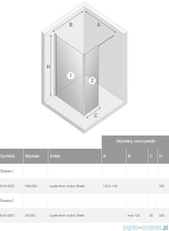 New Trendy New Modus kabina Walk-In 140x30x200 cm przejrzyste EXK-0022/EXK-0053