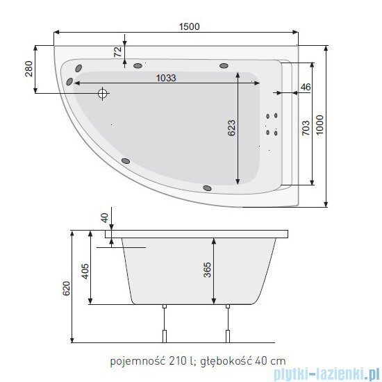 Poolspa Viva Klio wanna asymetryczna 150x100 prawa + hydromasaż system SD1 PHA2B10SD1C0000