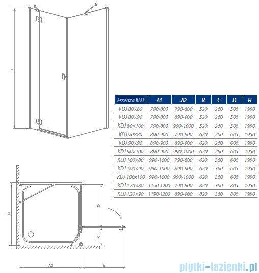 Radaway Kabina prysznicowa Essenza KDJ 80x90 prawa szkło przejrzyste 32846-01-01NR