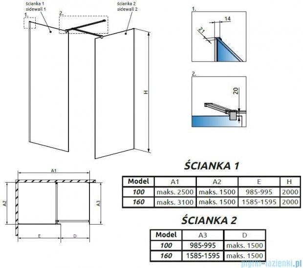 Radaway Modo New III kabina Walk-in 160x100x200 szkło przejrzyste 389164-01-01/389104-01-01/389000-01