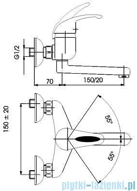 KFA PIRYT Bateria umywalkowo-zlewozmywakowa ścienna dł wylotu 200 mm chrom 440-940-00