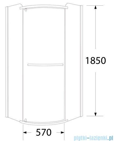 Sea Horse Sigma kabina natryskowa narożna półokrągła, 80x80, szkło grafit BK001/3/RG