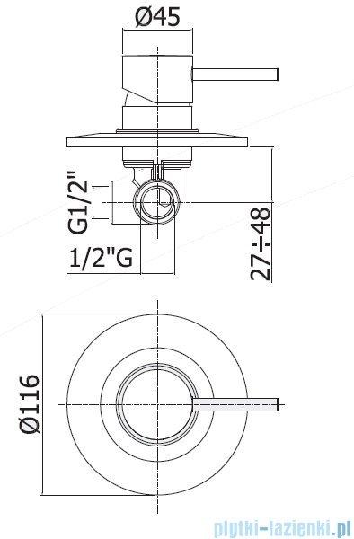 Paffoni  Light Bateria natryskowa podtynkowa chrom LIG010