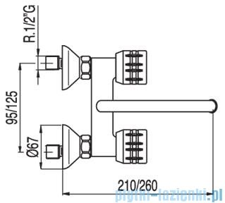 Tres Ese-23 Bateria zlewozmywakowa ścienna kolor chrom 1.23.230