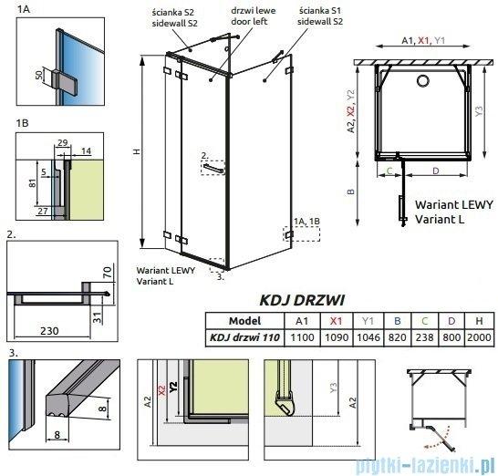 Radaway Euphoria KDJ+S Drzwi prysznicowe 110 lewe szkło przejrzyste 383023-01L