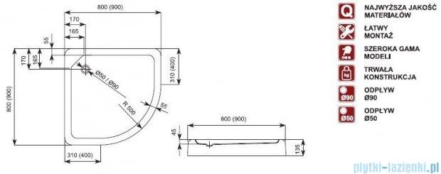 Aquaform Standard brodzik półokrągły płytki ze zintegrowaną obudową 90x90x13,5cm 05499