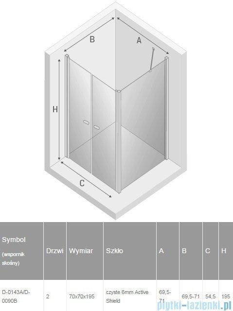 New Trendy New Soleo 70x70x195 cm kabina wspornik skośny przejrzyste D-0143A/D-0090B