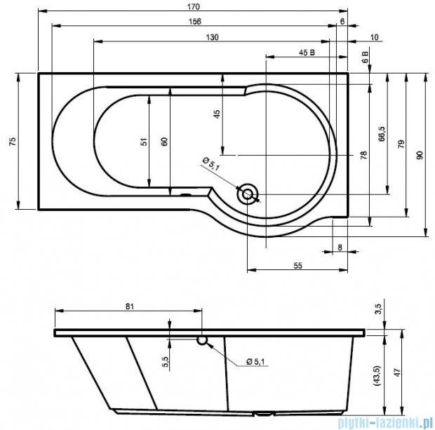 Riho Dorado Wanna asymetryczna 170x75 lewa z hydromasażem HIT Hydro 4+4+2/Aero12 BA81H3
