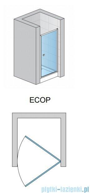 SanSwiss Eco-Line Drzwi 1-częściowe Ecop 90cm profil biały szkło przejrzyste ECOP09000407