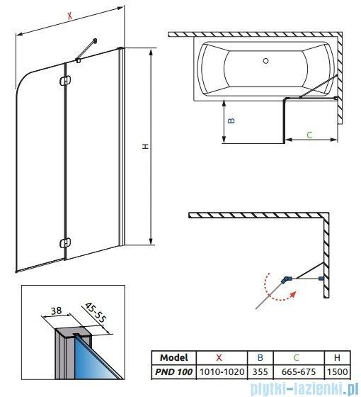 Radaway Torrenta PND Parawan nawannowy dwuczęściowy 100cm prawy szkło przejrzyste 201202-101NR