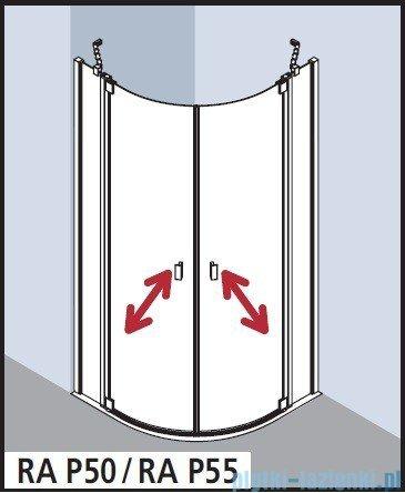 Kermi Raya Kabina ćwierćkolista, drzwi wahadłowe, szkło przezroczyste, profile srebrne 80x80x200 RAP5008020VAK