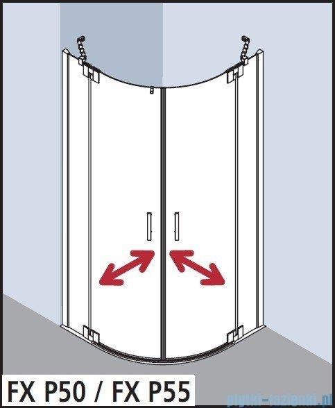 Kermi Filia Xp Kabina ćwierćkolista, drzwi wahadłowe, szkło przezroczyste KermiClean, profil srebro 90x200cm FXP5509020VPK