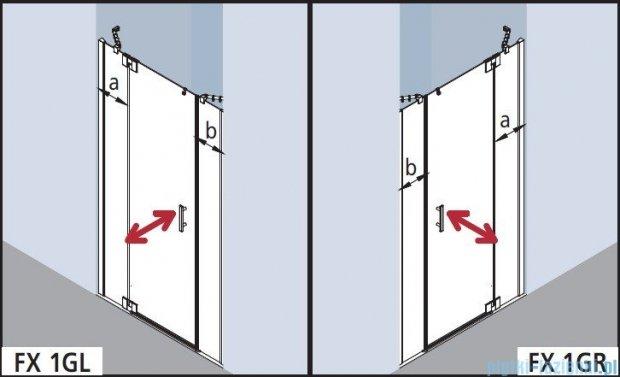 Kermi Filia Xp Drzwi wahadłowe 1-skrzydłowe z polami stałymi, lewe, szkło przezroczyste, profile srebrne 160x200cm FX1GL16020VAK