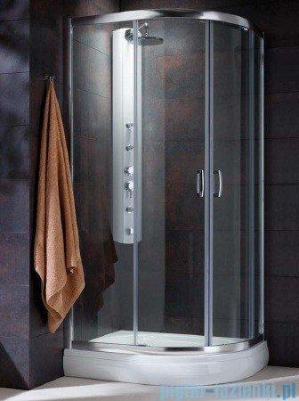 Radaway Premium Plus E Kabina prysznicowa 90x80 szkło przejrzyste + brodzik Siros E Compact lewy + syfon 30492-01-01N