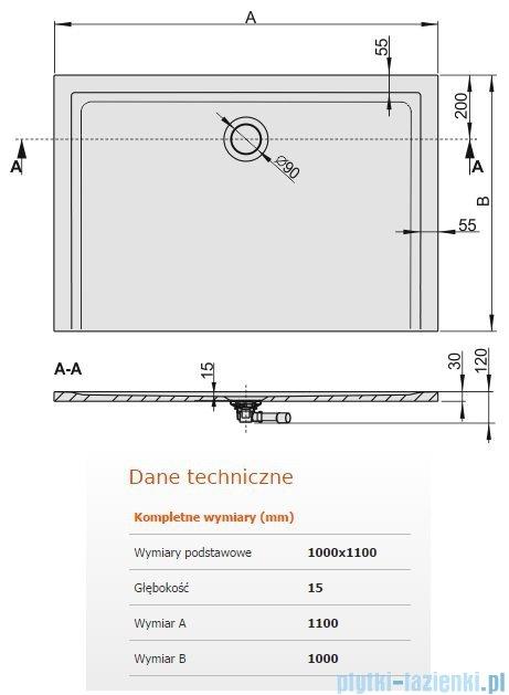 Sanplast Brodzik prostokątny Space Mineral 110x100x1,5cm + syfon 645-290-0640-01-000