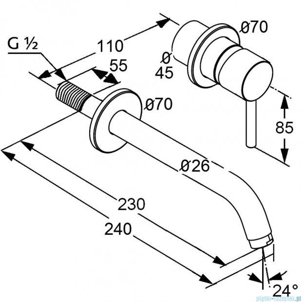 Kludi Bozz Ścienna bateria umywalkowa 230mm chrom 382450576