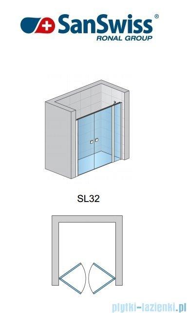 SanSwiss Swing-Line Drzwi 2-częściowe ze ścianką stałą w linii 120cm SL3212000107