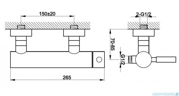 Kohlman Roxin bateria prysznicowa ścienna QW120R
