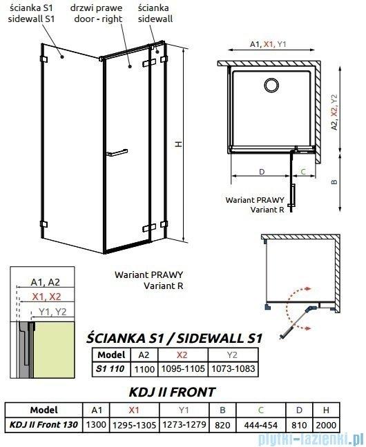 Radaway Arta Kdj II kabina 130x110cm prawa szkło przejrzyste 386457-03-01R/386045-03-01R/386023-03-01