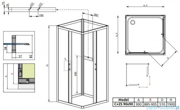 Radaway Premium Plus C+2S kabina czterościenna kwadratowa 90x90 szkło przejrzyste/fabric 30453-01-01N/33433-01-06N