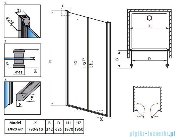 Radaway Eos DWD 80 Drzwi wnękowe szkło intimato + brodzik Delos C + syfon 37713-01-12N